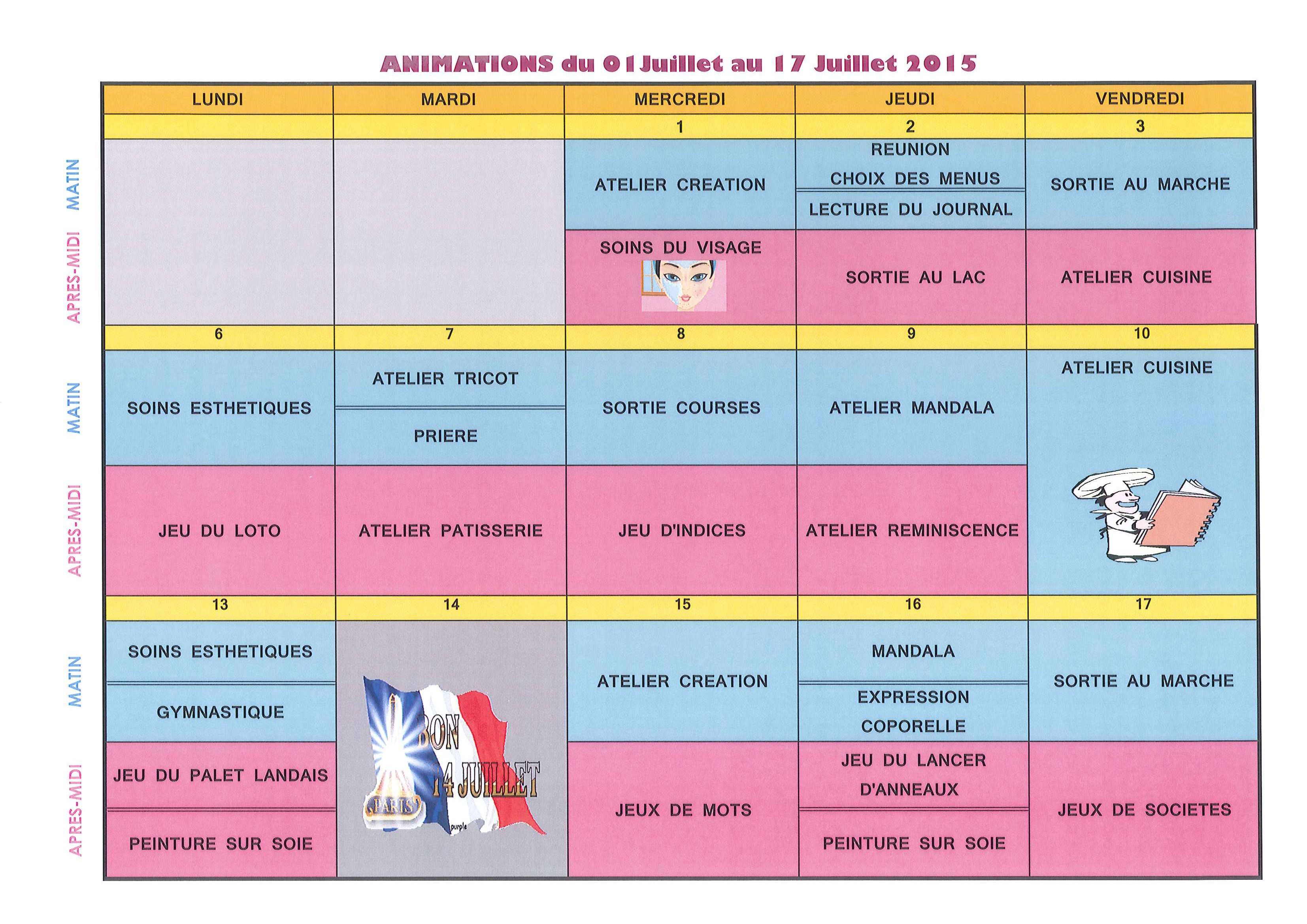 Planning des animations pour les r sidents du 01 au 17 for Animation musicale maison de retraite