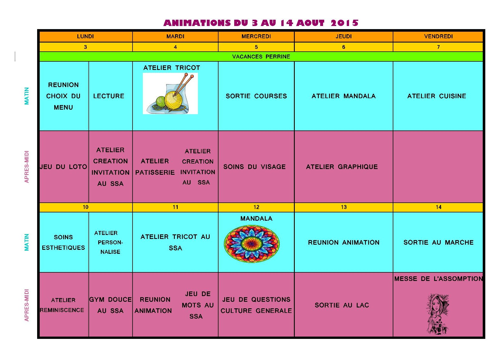 Planning des animations pour les r sidents du 3 au 14 ao t for Animation musicale maison de retraite