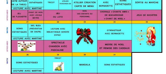 Planning des animations du 14 au 31 Décembre 2015